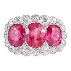 Edwardian Three-Stone Burma No Heat Ruby Diamond Ring