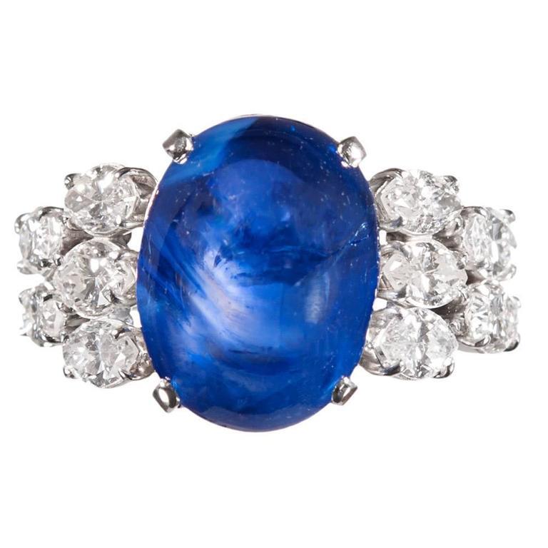 12.46 Carat Ceylon No Heat Sugarloaf Sapphire Diamond Platinum Ring