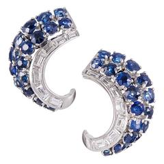 1950s Sapphire Diamond Platinum Earrings