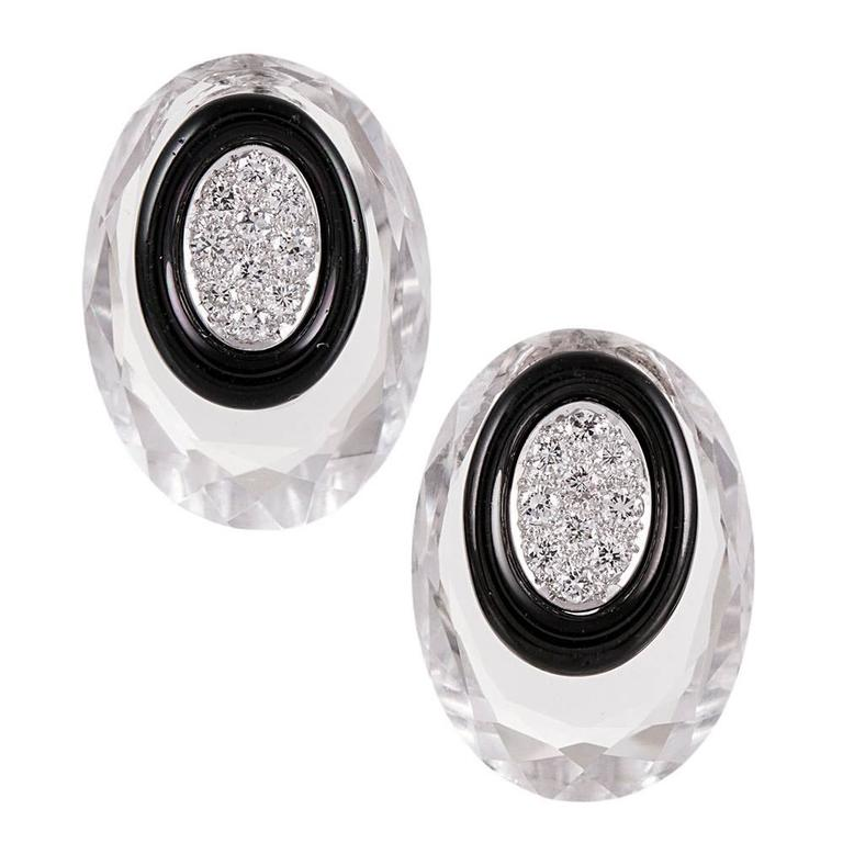 David Webb Rock Crystal Onyx Diamond Earrings