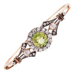 Victorian Peridot Diamond Rose Gold Bangle Bracelet