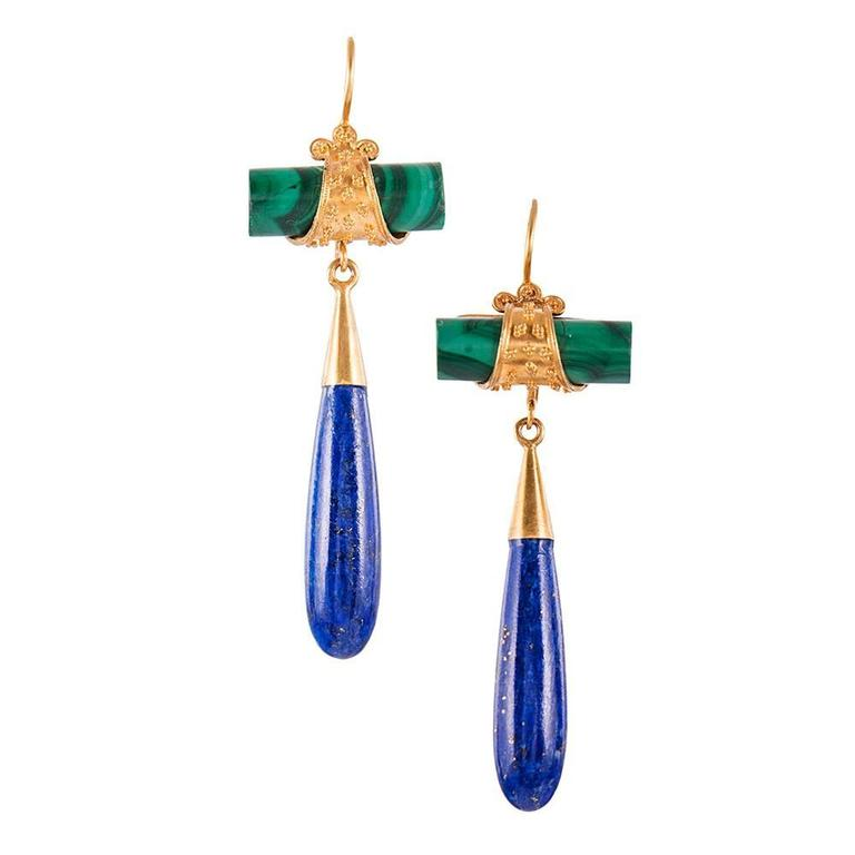 Etruscan Revival Malachite Lapis Gold Drop Earrings For