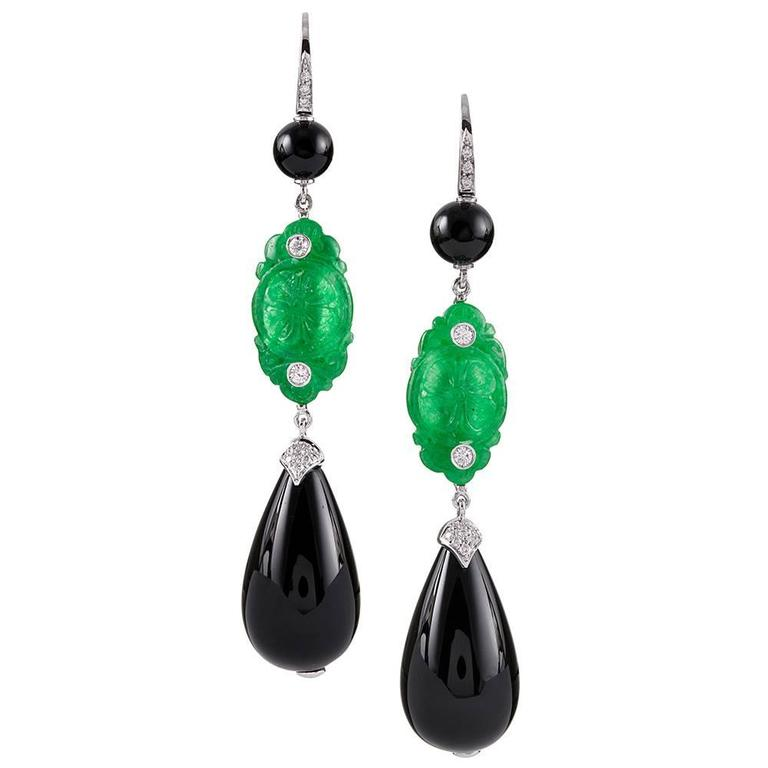Carved Jade Onyx Diamond White Gold Drop Earrings