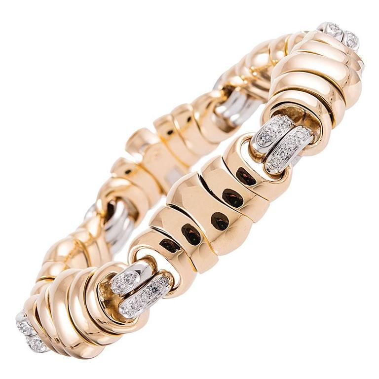 Pomelatto Diamond Yellow Gold Link Bracelet For Sale