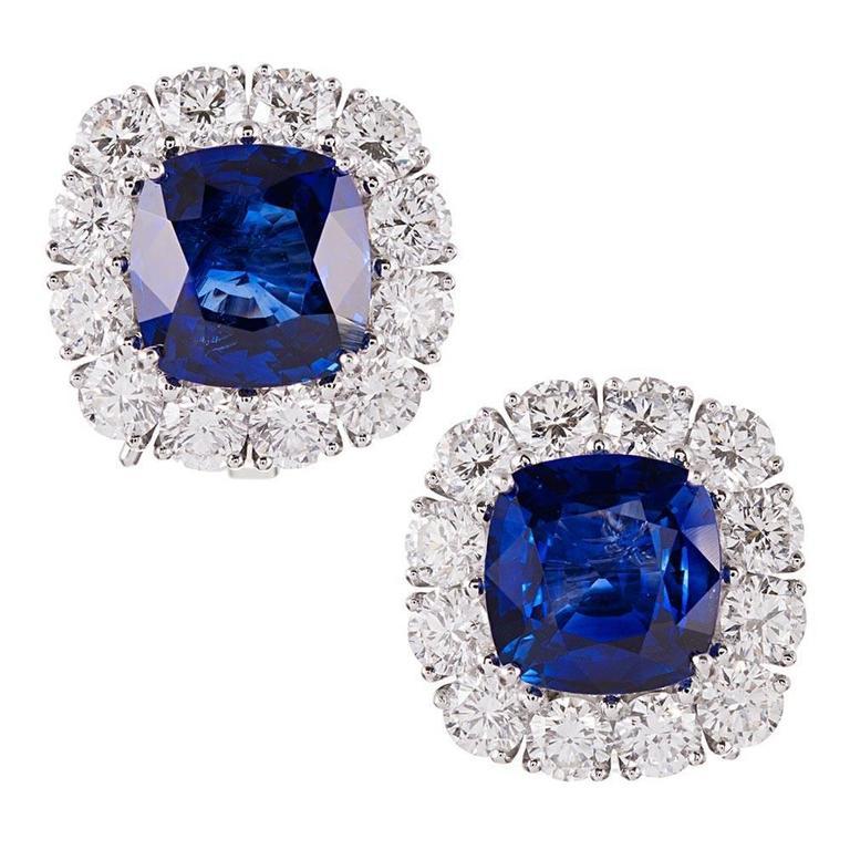 9.28 Carat Cushion Ceylon Sapphire Diamond Platinum Cluster Earrings 1