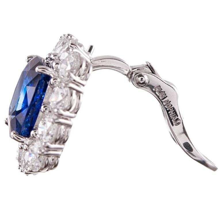 9.28 Carat Cushion Ceylon Sapphire Diamond Platinum Cluster Earrings 3