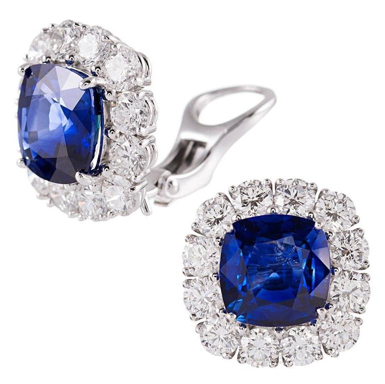 9.28 Carat Cushion Ceylon Sapphire Diamond Platinum Cluster Earrings 2