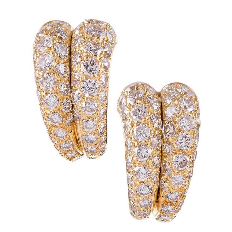 Cartier Double Row Diamond Gold Ear Hoops