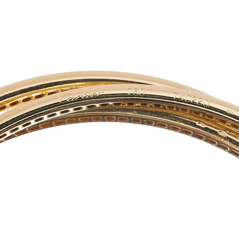Cartier Trinity Rolling Diamond Yellow Gold Bangle Bracelets In Excellent Condition For Sale In Carmel-by-the-Sea, CA