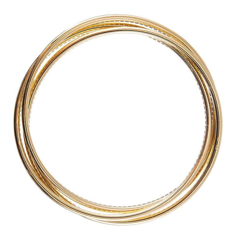 Cartier Trinity Rolling Diamond Yellow Gold Bangle Bracelets 2