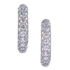 Tiffany & Co. Pave Diamond Etoile Hoop Earrings