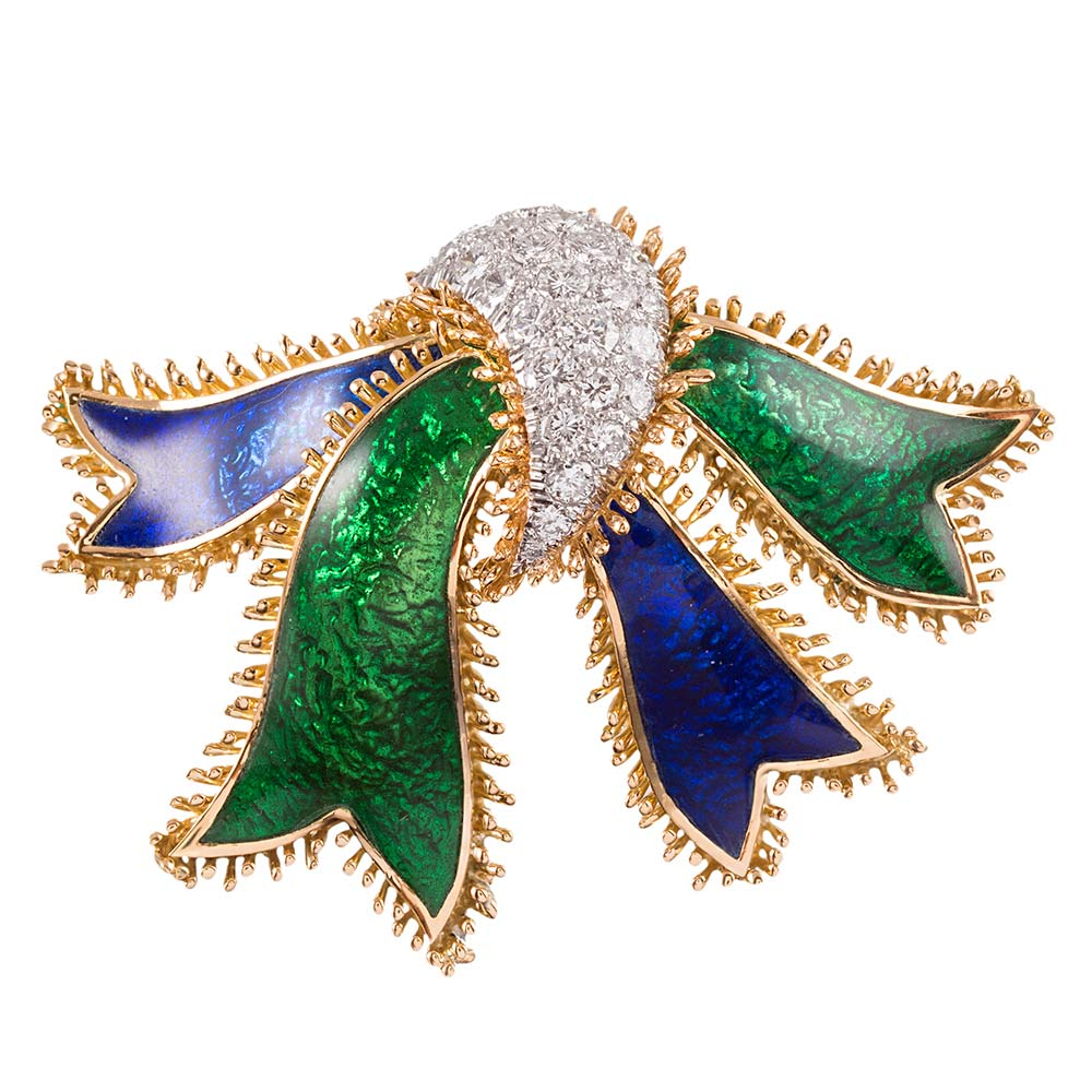 David Webb Diamond Enamel Bow Brooch