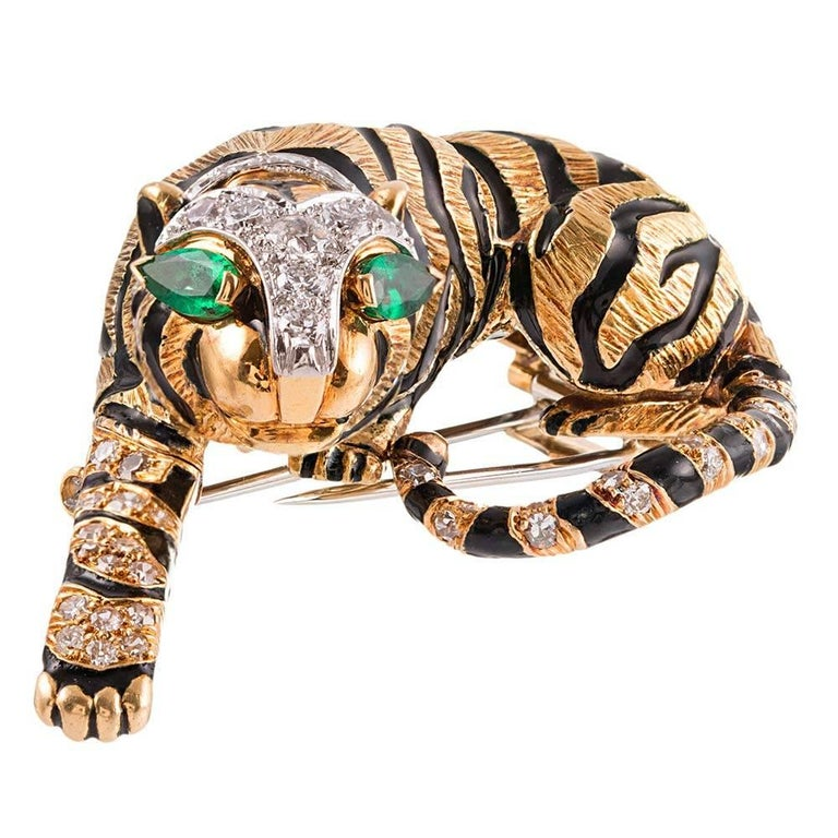 David Webb Diamond Emerald Gold Tiger Brooch