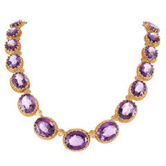Antique Victorian Amethyst Granulated Gold Collar