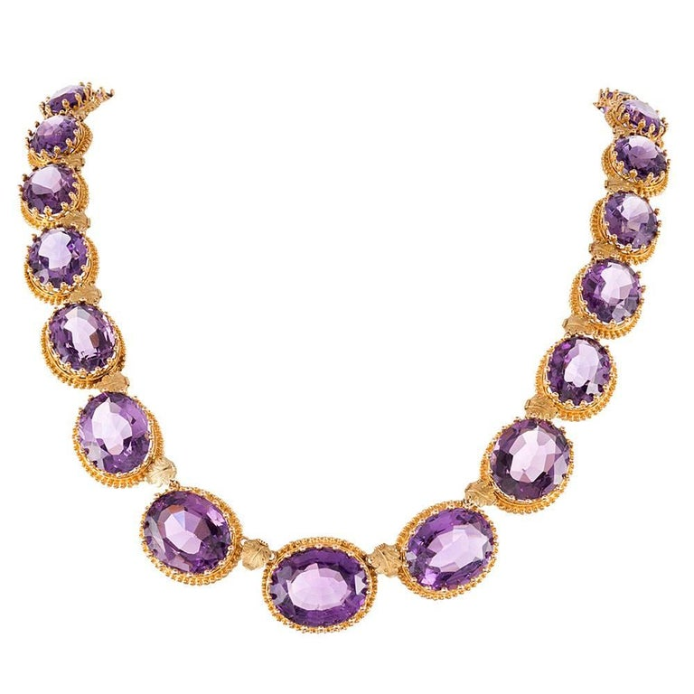 Antique Victorian Amethyst Granulated Gold Collar For Sale