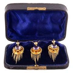 Antique Victorian Cabochon Amethyst Earrings Pendant Gold Suite