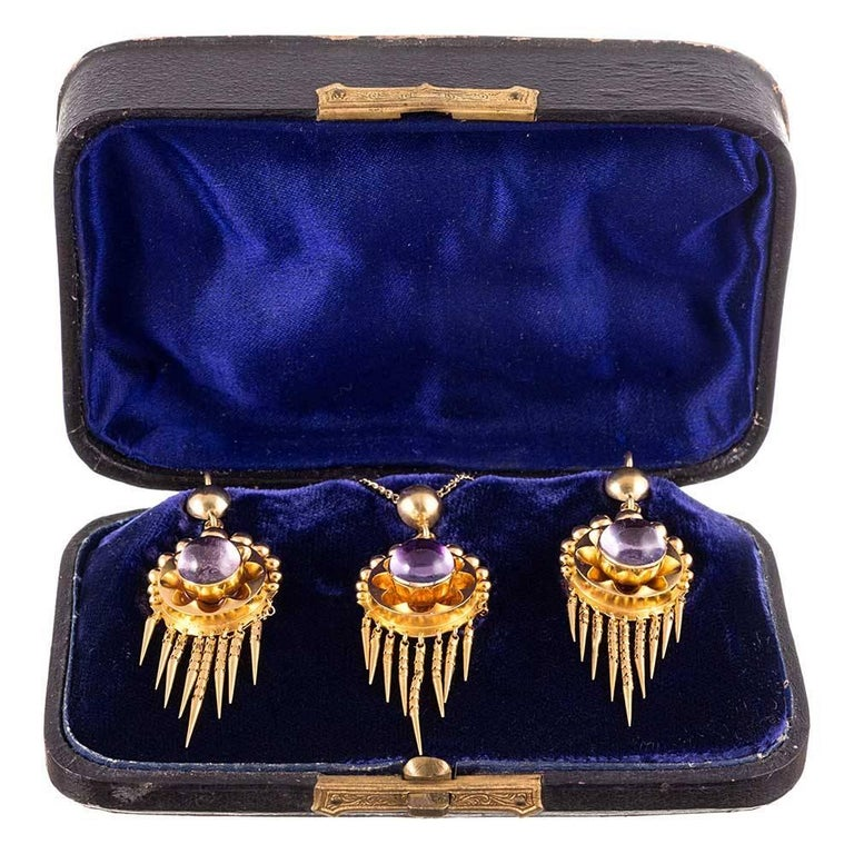 Antique Victorian Cabochon Amethyst Earrings Pendant Gold Suite For Sale