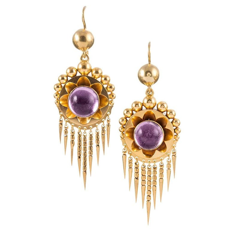 Antique Victorian Cabochon Amethyst Earrings Pendant Gold Suite In Excellent Condition For Sale In Carmel-by-the-Sea, CA