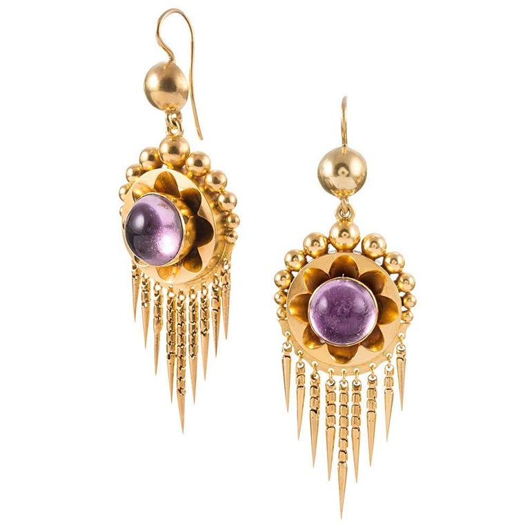 Women's Antique Victorian Cabochon Amethyst Earrings Pendant Gold Suite For Sale