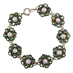 1960s Green Tourmaline and Pearl Cluster Line Bracelet