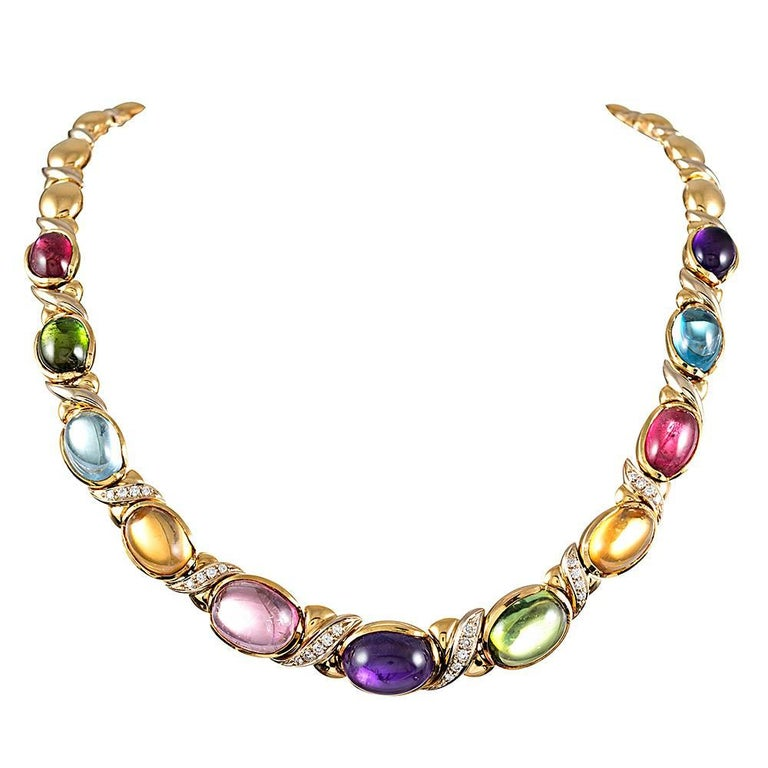 Cabochon Gemstone and Diamond Necklace