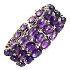 Cabochon Amethyst and Diamond Bracelet