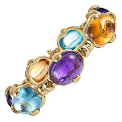 Citrine Amethyst Aquamarine Cabochon Gold Bracelet