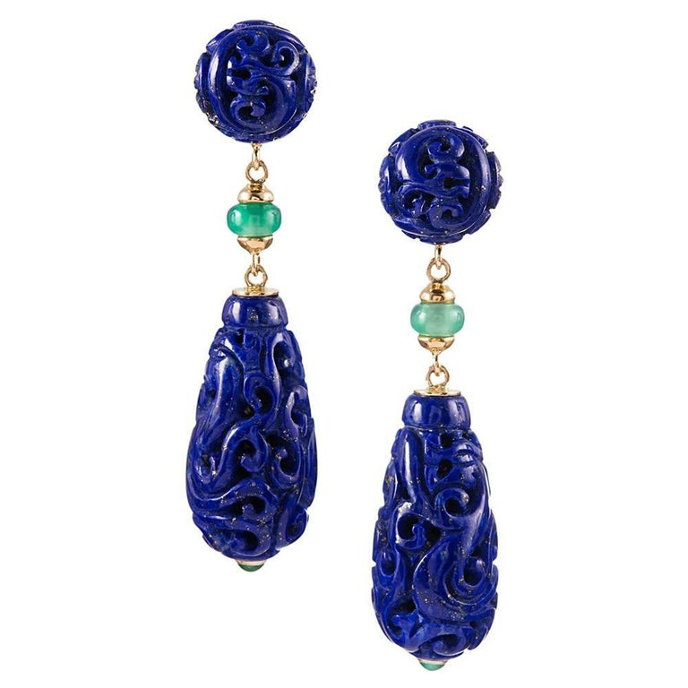 "Seaman Schepps Lapis Lazuli  Emerald  Chrysoprase ""Canton"" Earrings 1"