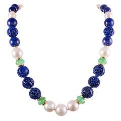 "Seaman Schepps Carved Lapis Lazuli Chrysoprase  Pearl ""Canton"" Necklace"