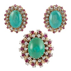 1960s Turquoise, Ruby and Diamond Earrings and Cocktail Ring Suite
