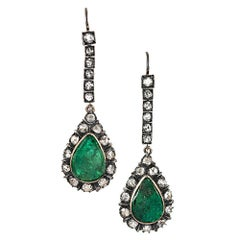 Victorian Emerald and Diamond Drop Earrings