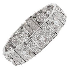 Platinum Art Deco 10.25 Carat Diamond Filigree Bracelet