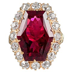 11 Carat Hexagonal Lozenge Rubellite and Diamond Ring