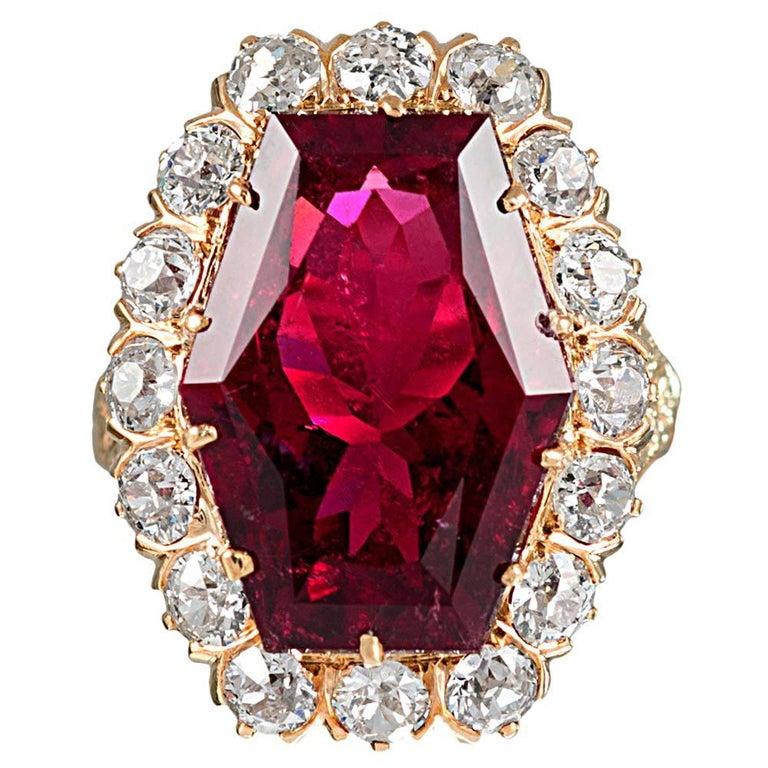 11 Carat Hexagonal Lozenge Rubellite and Diamond Ring