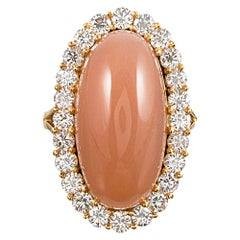 24 Carat Tangerine Moonstone and Diamond Cluster Ring
