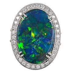 10.88 Carat Oval Lightening Ridge Opal and Diamond Ring