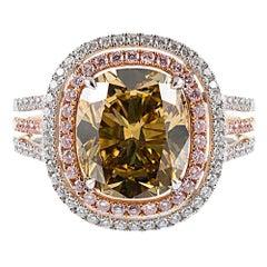 4.60 Carat GIA Fancy Dark Brown Green Yellow Cushion Diamond Ring