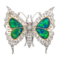 Black Opal, Diamond and Ruby Butterfly Brooch