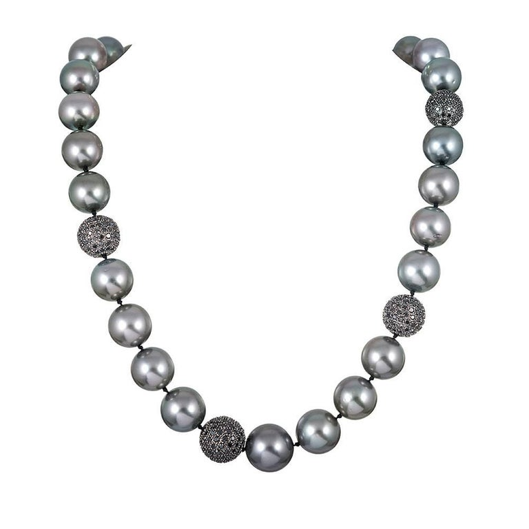 Tahitian South Sea Pearl and Black Diamond Necklace