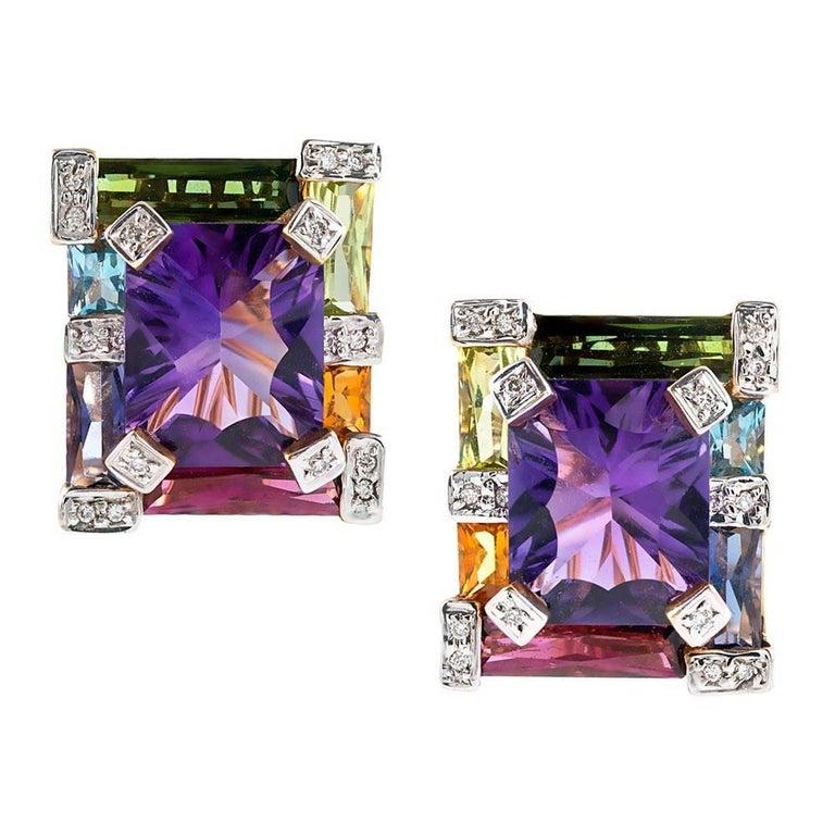 Geometric Rainbow Gemstone and Diamond Earrings For Sale