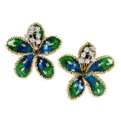 Boucheron Diamond Enamel Flower Earrings