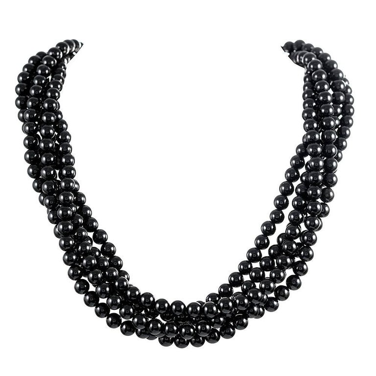 Tiffany & Co. Angela Cummings Five-Strand Onyx Enamel Necklace For Sale