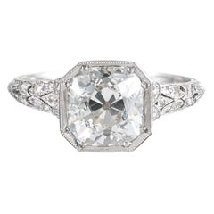 2.13 Carat Old Mine Cut Art Deco Diamond Ring