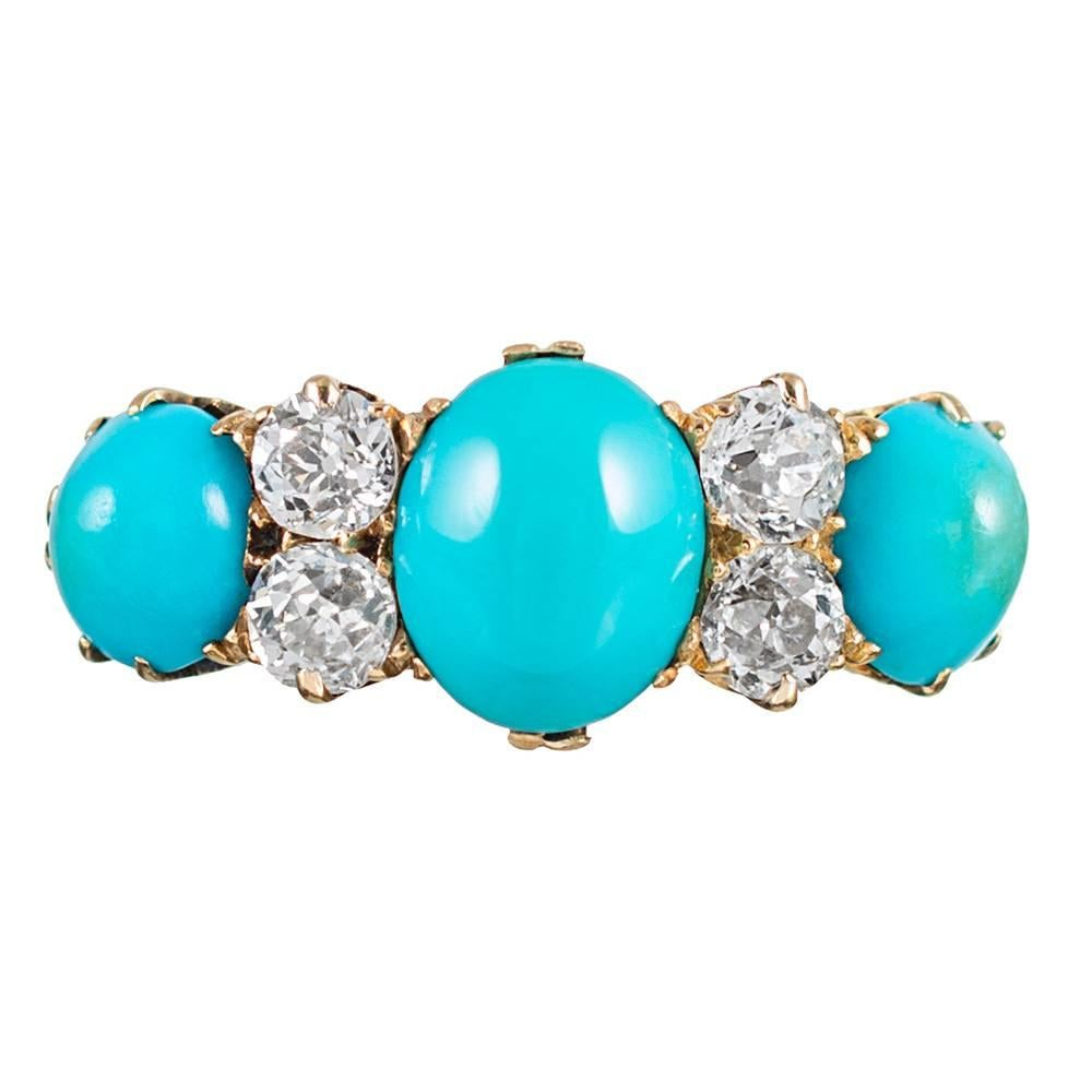 victorian english turquoise diamond carved gold ring