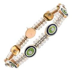 Edwardian Diamond, Enamel and Pearl Bracelet