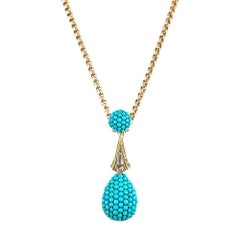 Victorian Double Drop Turquoise and Diamond Pendant