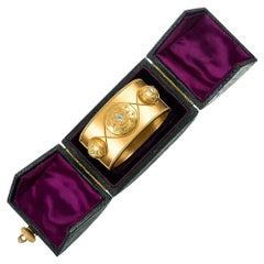 Wide Golden Victorian Bangle with Diamonds in Original Box