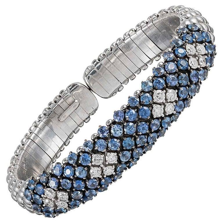 Flexible Diamond and Tanzanite Bangle Bracelet For Sale at 1stdibs