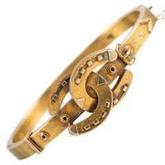 Victorian Double Horseshoe and Buckle Bangle Bracelet