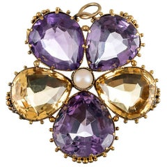Victorian Citrine and Amethyst Pansy Pendant